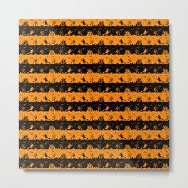 Light Pumpkin Orange and Black Halloween Nightmare Stripes Metal Print