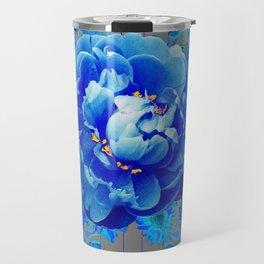 Baby Blue & Charcoal Grey Floral  Abstract Art Travel Mug