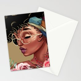 Solitude Blank: African American Black Woman Artwork Stationery Cards