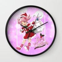 madoka Wall Clocks featuring Merry Christmas Madoka Kaname by Neo Crystal Tokyo