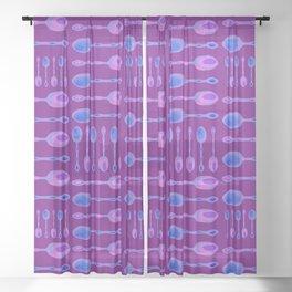 Unique Artsy Spoons! (Bright Purple) Sheer Curtain