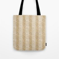 gold glitter Tote Bags featuring Gold Glitter Alligator Print by Zen and Chic