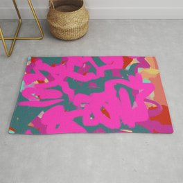 Fuchsia Pink, Teal Green & Orange Rust Thick Abstract Rug