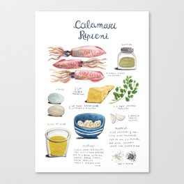 illustrated recipes: calamari ripieni Canvas Print