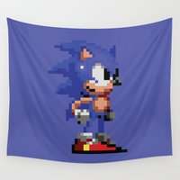 sonic Wall Tapestries featuring Pixelated Sonic The Hedgehog - Sonic by Katadd