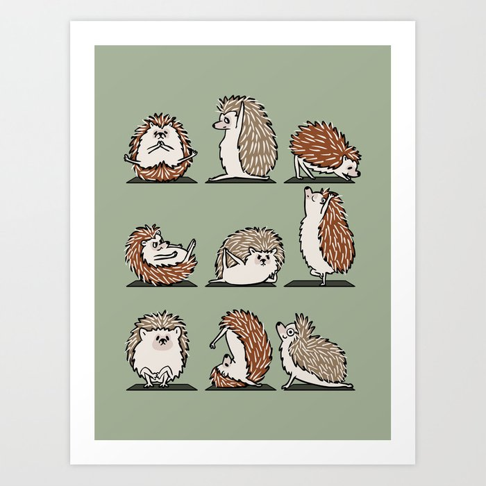 Hedgehog Yoga Art Print