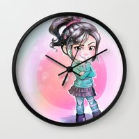 wreck it ralph Wall Clocks featuring Vanellope - Wreck-it Ralph by Claire