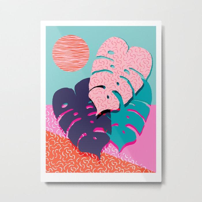 Mega - throwback memphis 1980's 80's 80s style art print bright colorful happy plants nature chic Metal Print
