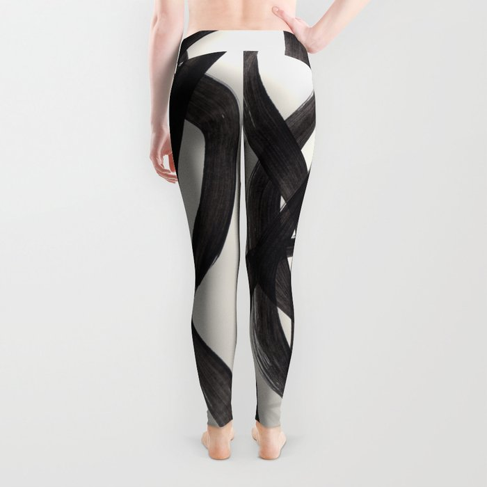 Mid Century Modern Minimalist Abstract Art Brush Strokes Black & White Ink Art Spiral Circles Leggings