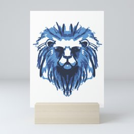 Colorful Blue Lion Head Lion Gift Animal Art Mini Art Print