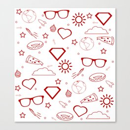 Supergirl/Kara's pattern - red Canvas Print