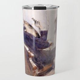 Portrait of Paul-César Helleu by John Singer Sargent - Vintage Fine Art Oil Painting Travel Mug