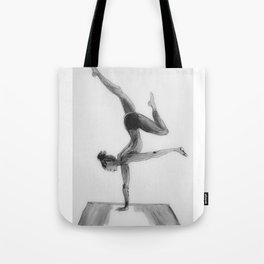 Yoga Girl, Yoga Illustration Print, Black White Home Decor, Girls Room Decor Tote Bag
