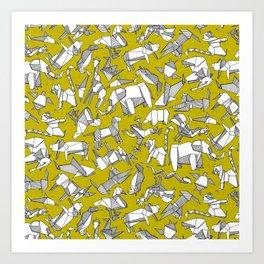 origami animal ditsy chartreuse Art Print