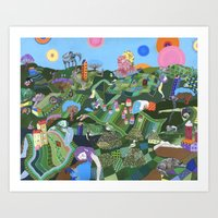 giants Art Prints featuring Sleeping Giants by Valeriya Volkova