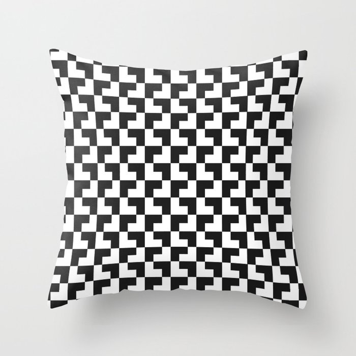 Black and White Tessellation Pattern - Graphic Design Throw Pillow