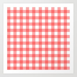 Red gingham fabric cloth, seamless pattern Art Print