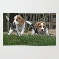 puppies Area & Throw Rugs featuring Beagle puppies by Martina Berg