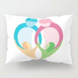 Heart shaped family logo. Mother, father, little boy and little girl Pillow Sham