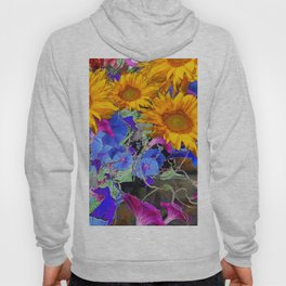 LARGE YELLOW SUNFLOWERS & BLUE MORNING GLORIES FLORAL Hoody