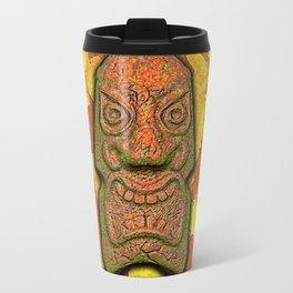 Mean Face Tiki Metal Travel Mug