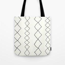 Moroccan Diamond Stripe in Black and White Tote Bag