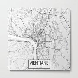 Vientiane City Map of Laos - Light Metal Print