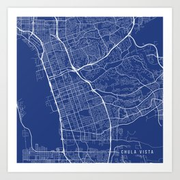 Chula Vista Map, USA - Blue Art Print