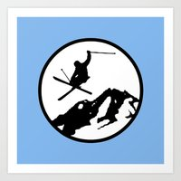 skiing Art Prints featuring Skiing by Paul Simms
