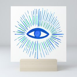 All Seeing Eye in Blue Watercolor Mini Art Print