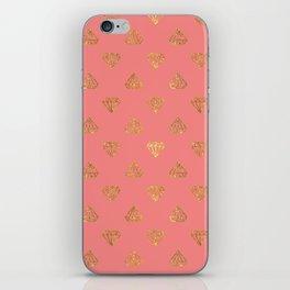 Elegant modern coral faux glitter diamond pattern iPhone Skin