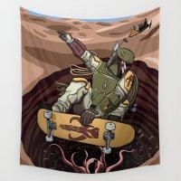 boba fett Wall Tapestries featuring Boba Fett Shreds by Jonathan Sims