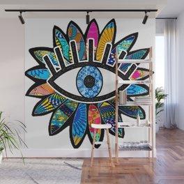 Greek Evil Eye Blue Flower Wall Mural