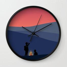 Evening Camping, Camp Fire 1 Wall Clock