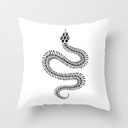 Snake Skeleton – Black Ink Throw Pillow