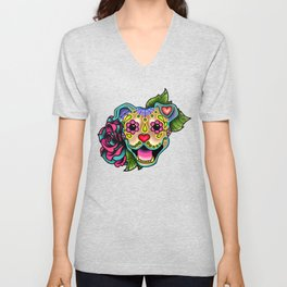 Smiling Pit Bull in Fawn - Day of the Dead Pitbull Sugar Skull Unisex V-Neck
