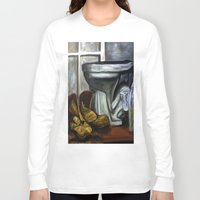 toilet Long Sleeve T-shirts featuring Boots and toilet by spiderdave7