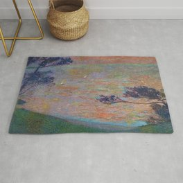 Colorful 'Sunset at Sea' nautical coastal landscape by Henri Jean Guillaume Martin Rug