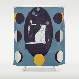 Kitty Ascension Moon Phase in Muted Blue Shower Curtain