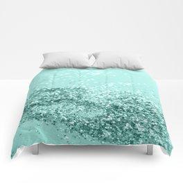 Summer Vibes Glitter #7 #mint #shiny #decor #art #society6 Comforters