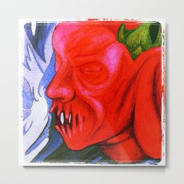 Pepper Pumpkin Head Metal Print