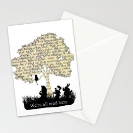 We're All Mad Here II - Alice In Wonderland Silhouette Art Stationery Cards