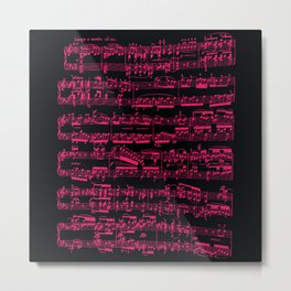 Beethoven piano Sonata No.7 sheet music, neon pink on black. Metal Print