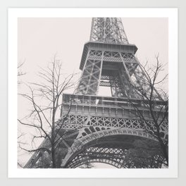 Eiffel tower, Paris, black & white photo, b&w fine art, tour, city, landscape photography, France Art Print