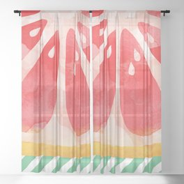 Red Grapefruit Abstract Sheer Curtain