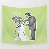 frankenstein Wall Tapestries featuring Frankenstein bride by Mermelada de Sesos