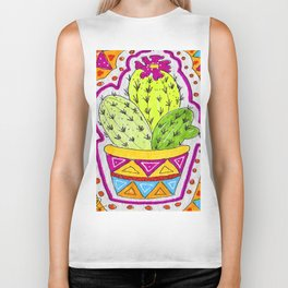 Aztec Cactus in pot Biker Tank