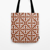 orange pattern Tote Bags featuring Orange Pattern by Annabelle A.