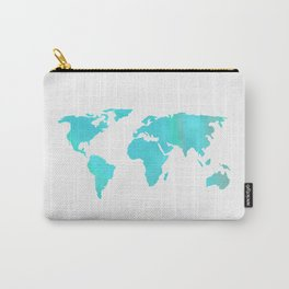 World Map - Turquoise Green Emerald Pool on White Carry-All Pouch