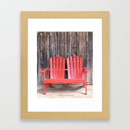Barn and Red Andirondack Chairs  Framed Art Print